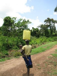 Walking In Uganda With A Full Jerrycan Full of Water